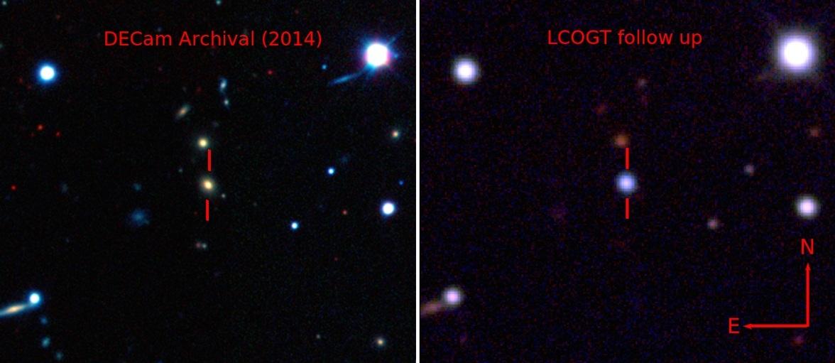 عکسی از قبل و بعد از این رویداد کیهانی درخشان و دوردست ثبت شده است.
