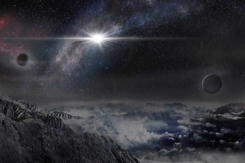 تصویری هنری از آسمان شبانهی سیارهای در کهکشان میزبان ASASSN-15lh.