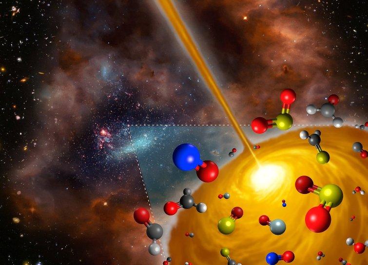 نمای هنری از مولکول های پیچیده در هسته مولکولی گرم که در ابر ماژلانی بزرگ قرار دارد.