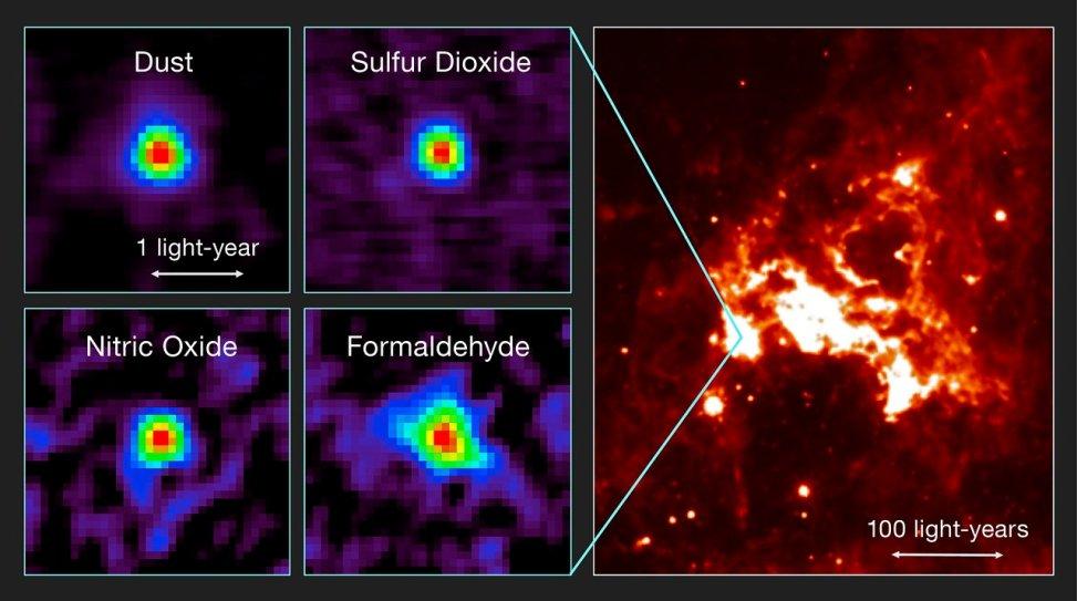 در این تصویر نمای فرو سرخ  هسته ی مولکولی داغ منحصر به فرد در خارج از کهکشان راه شیری را می بینید که آرایه ی تلسکوپی آلما آن را ثبت کرده است.