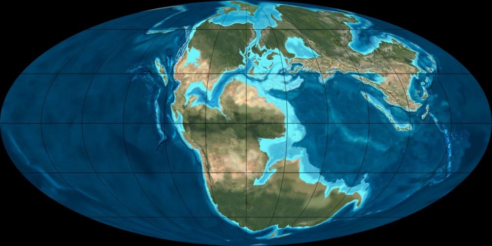 نقشه تقریبی زمین در دوران مزوزوئیک