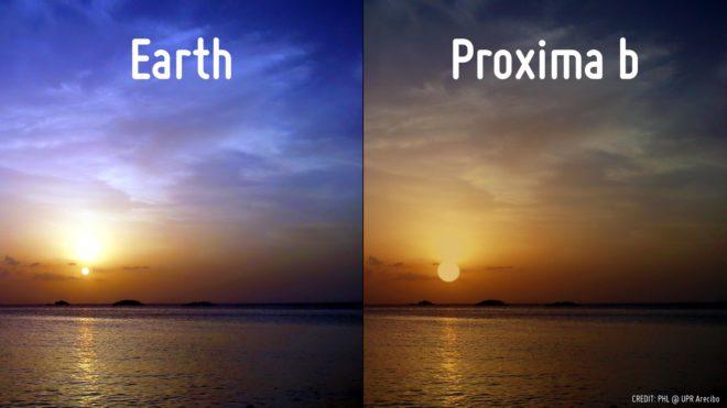 تصویر مقایسه ای غروب خورشید در زمین و سیاره پروکسیما b