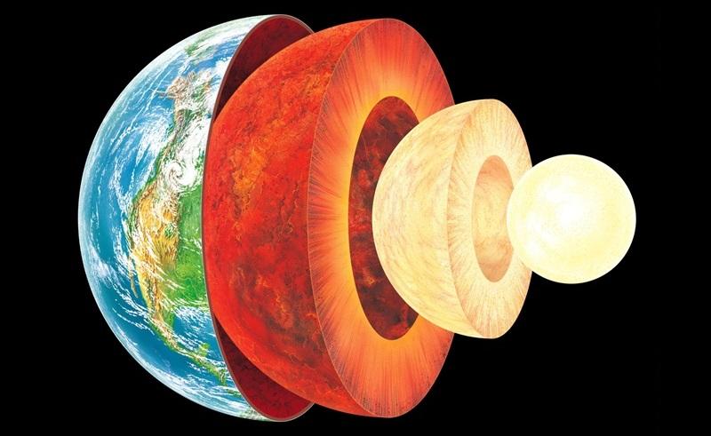 تصویری هنری از لایه های زمین، هسته درونی و بیرونی، گوشته و پوسته