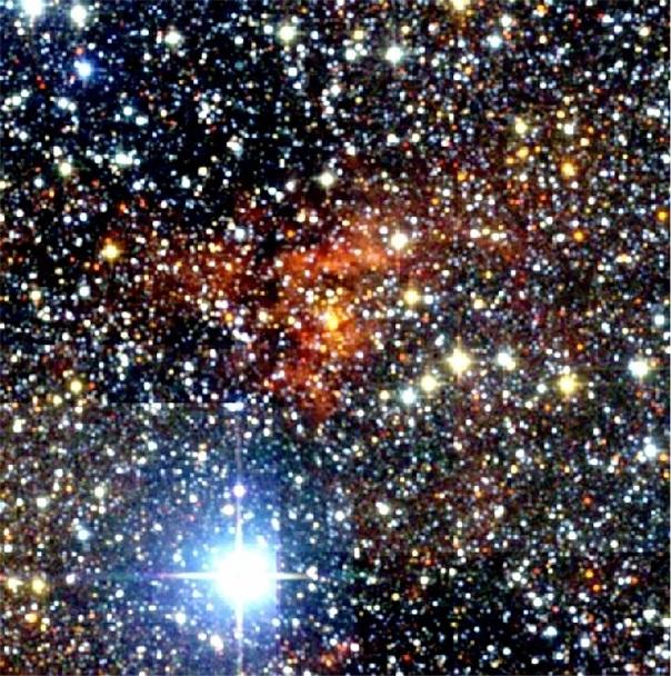 تصویر مادون قرمز از منطقه ی شکل گیری ستاره که W43 نام دارد.