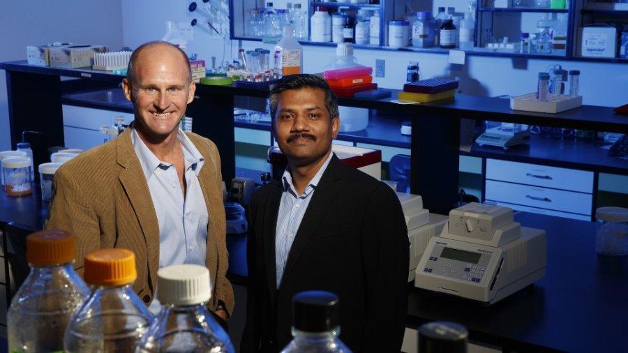 جی استورز (سمت چپ)، سوزان جی روزووسکی استاد علوم زیستی و چاندراسخار ناتاراجان، استادیار علوم زیستی.