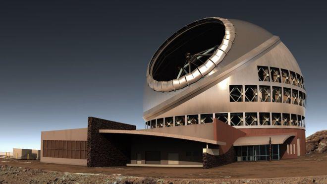 نمایی هنری از بزرگترین تلسکوپ زمینی جهان که در آینده ساخته می شود.