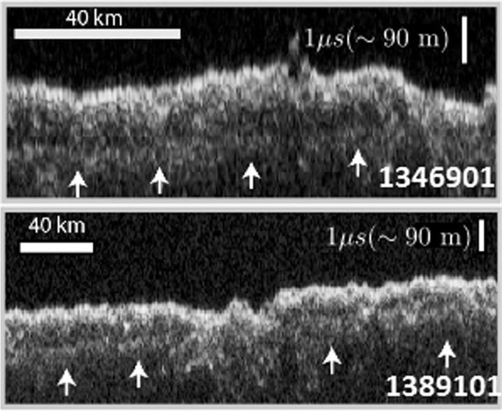 تصویر راداری ابزار مداگرد شناسایی مریخ از منطقه ی تحت کاوش که این دریاچه ی یخی در سیارۀ سرخ را کشف کرد.