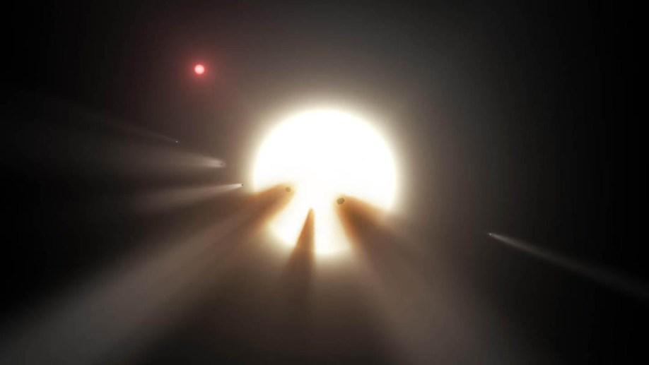 تصویری هنری از اجرام اطراف ستاره ی عجیب