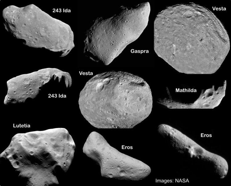 تعدادی از سیارک هایی که توسط سفینه های فضایی بشر مورد بررسی قرار گرفتند.