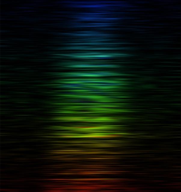 شدت فرکانسهای رادیویی مختلف در FRB 150،807 که با رنگ - قرمز مربوط به فرکانس پایین تر و سبز فرکانس متوسط و آبی فرکانس ِ بالاتر نشان داده شده