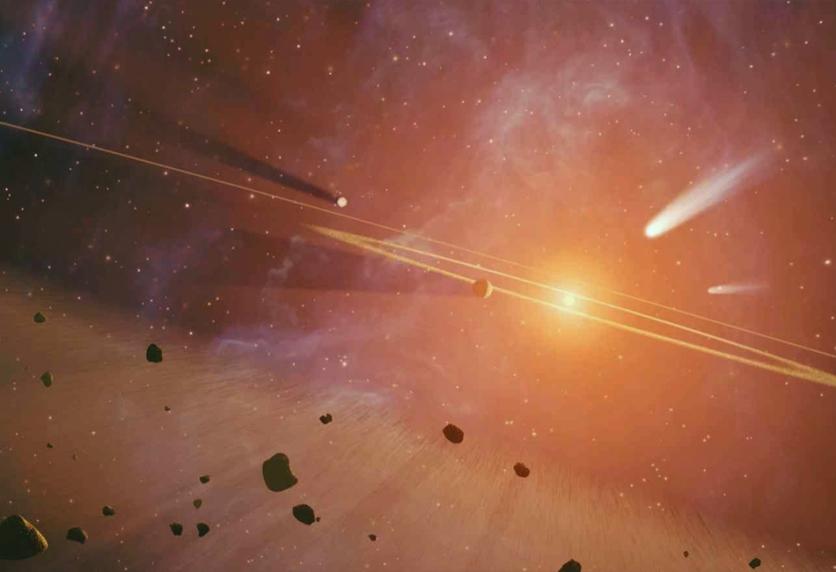 تصویری هنری از سحابی منظومه شمسی ما که سیارات از آن شکل گرفتند.