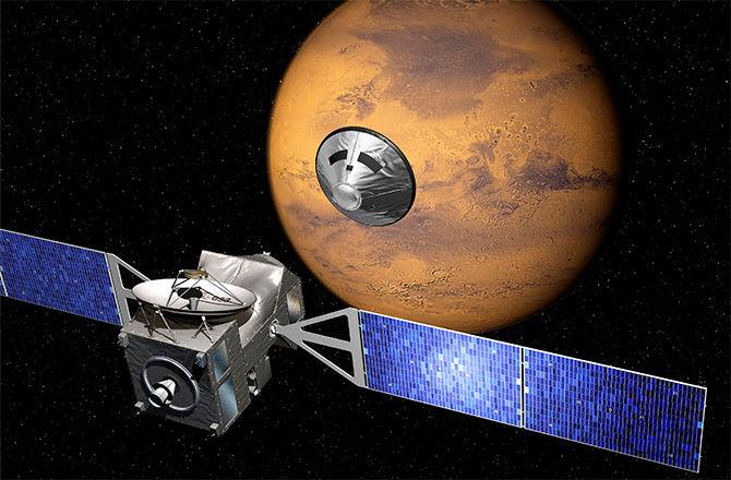 نمایی هنری از رسیدن کاوشگر اگزومارس به سیاره ی سرخ