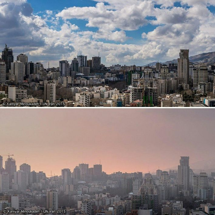 مقایسه ی هوای تهران در یک روز آلوده و یک روز پاک