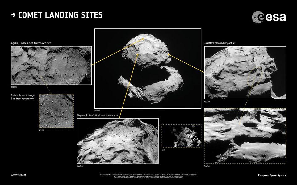 بافت سطحی دنباله دار در محل برخورد کاوشگر