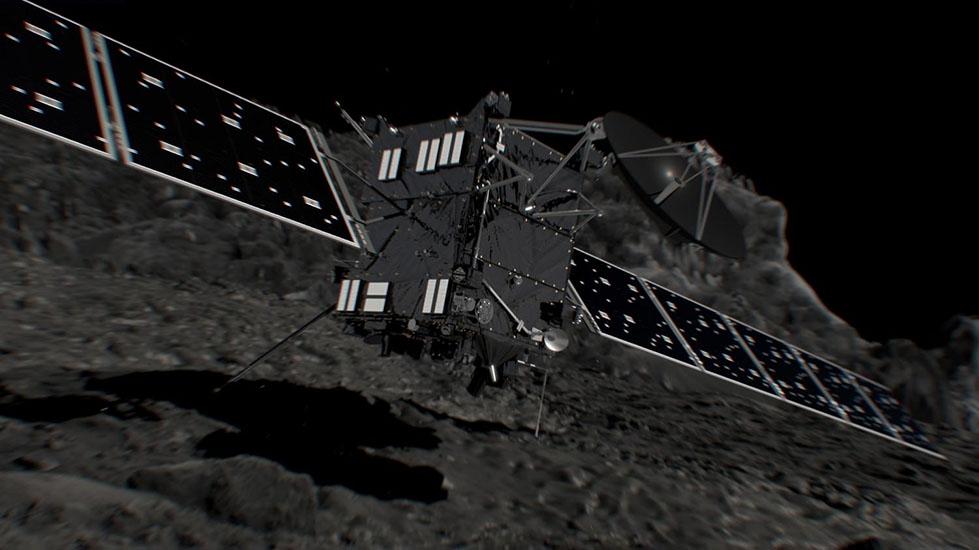 تصوری هنری از لحظه برخورد کاوشگر روزتا با دنباله دار