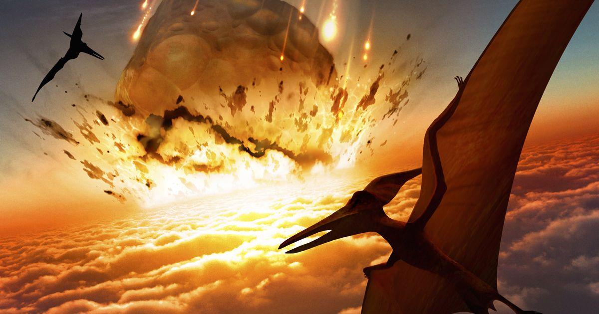 تصویری هنری از برخورد شهاب سنگی عظیمی که موجب انقراض دایناسورها شد.