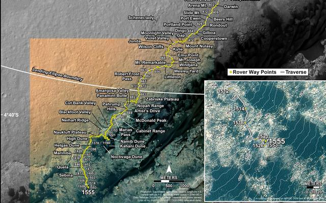 مسیر حرکت کنجکاوی از محل فرودش در سال ۲۰۱۲ تا پای کوه شارپ در سال 2016