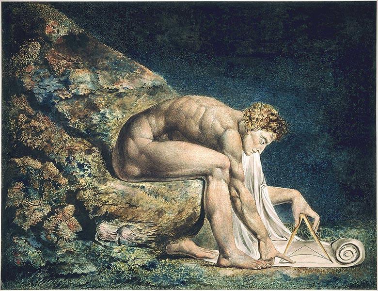 «ویلیام بلیک» شاعر و نقاشِ بریتانیایی، در نقاشی اش، نیوتن را به عنوان یک هندسه دان الهی نشان داده.