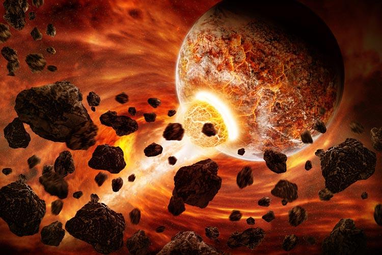 تصویری هنری از برخورد ریز سیارات برای شکل گیری سیارۀ بزرگتر