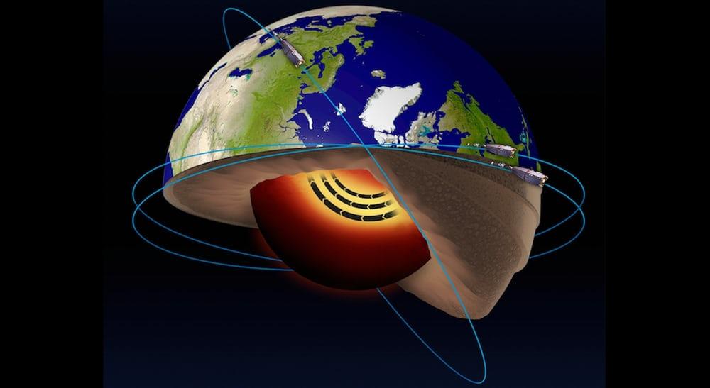 ماهواره های آژانس فضایی اروپا به نام Swarm، جریان فواره ای از آهن مذاب کشف کرده اند که در هسته خارجی زمین جریان دارد.