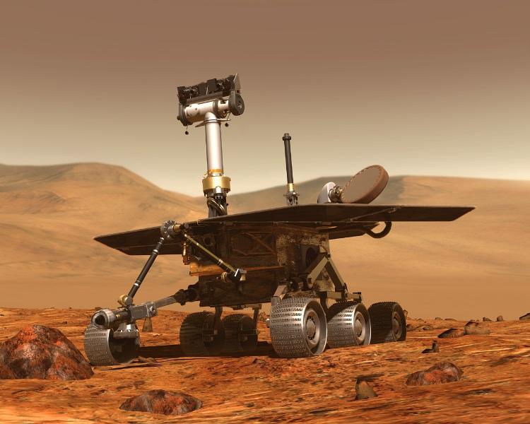 تصویری هنری از کاوشگر روح که هم اکنون در مریخ زمین گیر شده است.