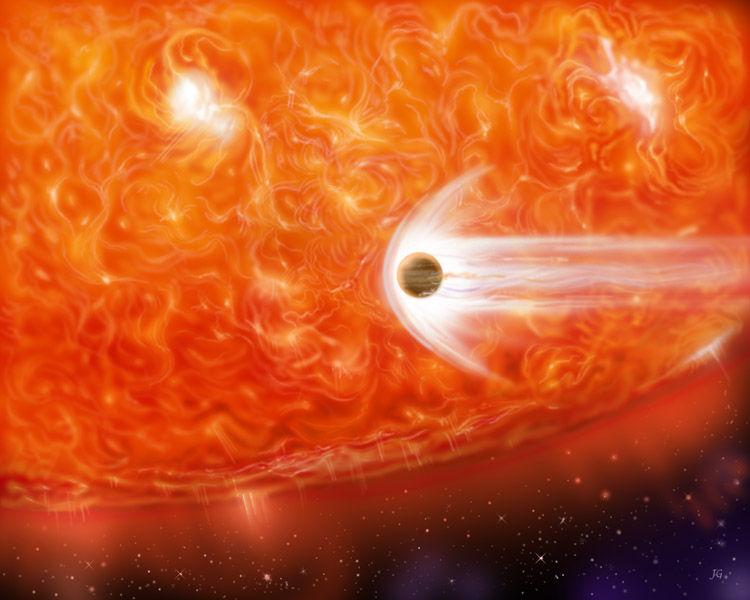 تصویری هنری از یک غول سرخ در حال گسترش که دارد یک سیاره غول پیکر را در خود می بلعد. خورشید ما نیز وقتی که به یک غول سرخ تبدیل می گردد، عطارد و ناهید و احتمالا زمین را در خود خواهد بعلید.