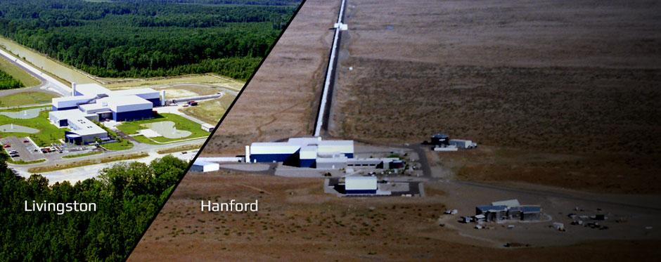 تصویری از رصدخانه لیزری هنفورد در سمت راست و لیوینگستون در سمت چپ