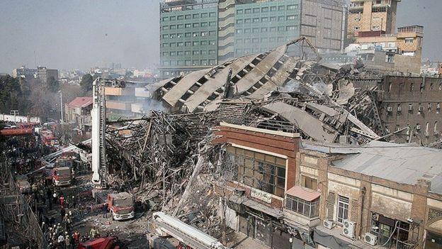 نمایی از ساختمان فرو ریخته پلاسکو