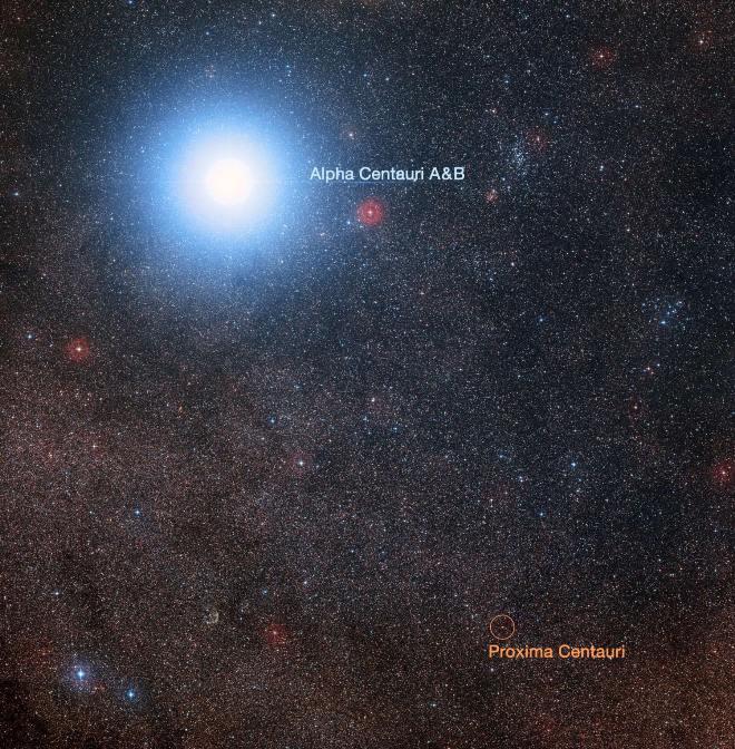 این عکس، نزدیک ترین منظومه ستاره ای به خورشید، یعنی جفت ستاره درخشان سیستم آلفا قنطورس به نام A و B و همسایه دور و کم نورش بنام پروکسیما قنطورس را نشان می دهد.
