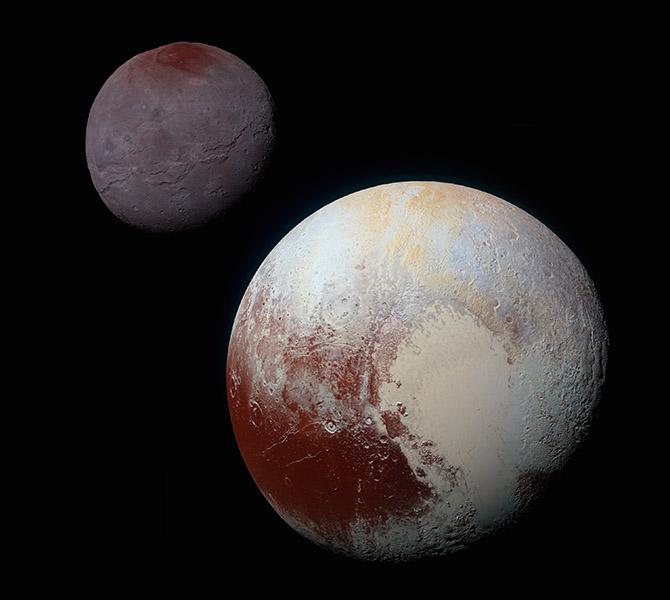 نمایی از پلوتو و قمرش شارون که کاوشگر افق های نو به ثبت رسانده است.