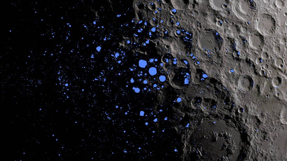 این یک نقشه مناطق همیشه در سایه (آبی رنگ) در سطح ماه را نشان می دهد که حدود سه درصد از قطب جنوب این قمر را پوشش می دهد.
