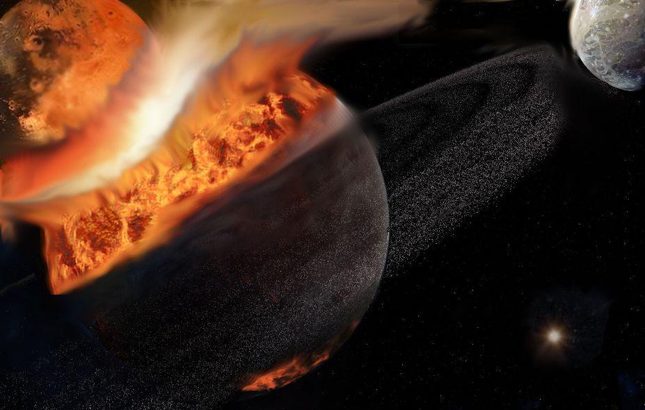 برداشت یک هنرمند از برخوردی میان دو جرم سیارهای که یک ماه را پدید خواهد آورد. در زمان این برخورد، یک ماه قدیمیتر نیز در مدار زمین وجود داشته.