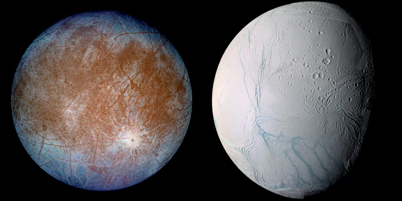 Europa and Enceladus Credit NASA x