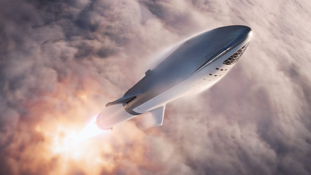 spacex big falcon rocket bfr spaceship booster launch bfs bfb rendering illustration elon musk twitter