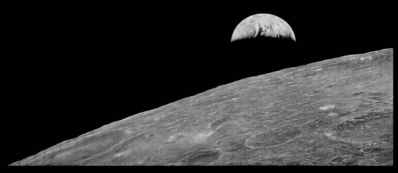 px First View of Earth from Moon reprocessed wide