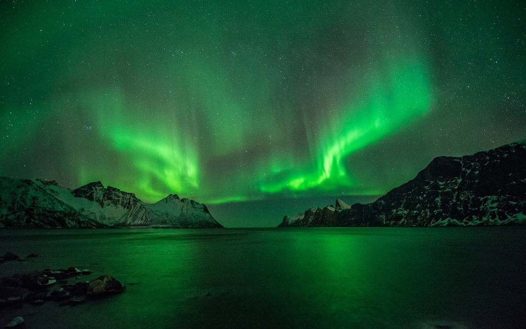 aurorae nature sky norway wallpaper