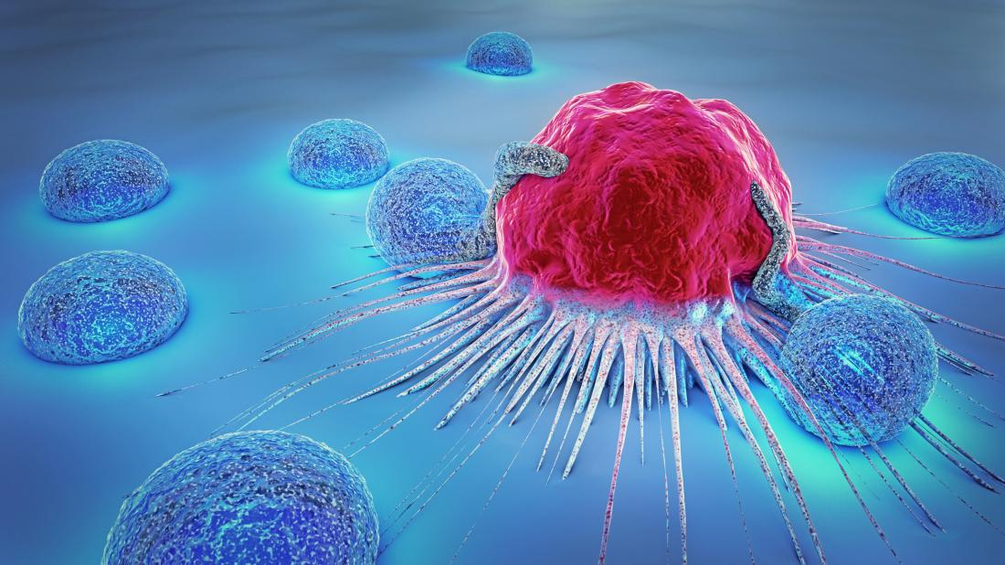 illustration of cancer cell surrounded by lymphocytes