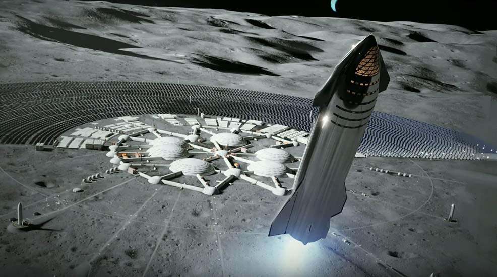 Starship Moon base render SpaceX