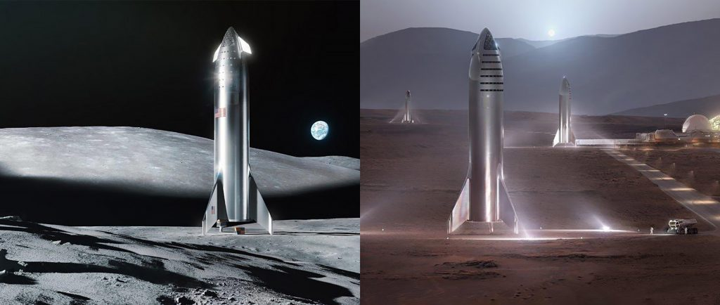 Steel Starship Moon and Mars renders SpaceX x