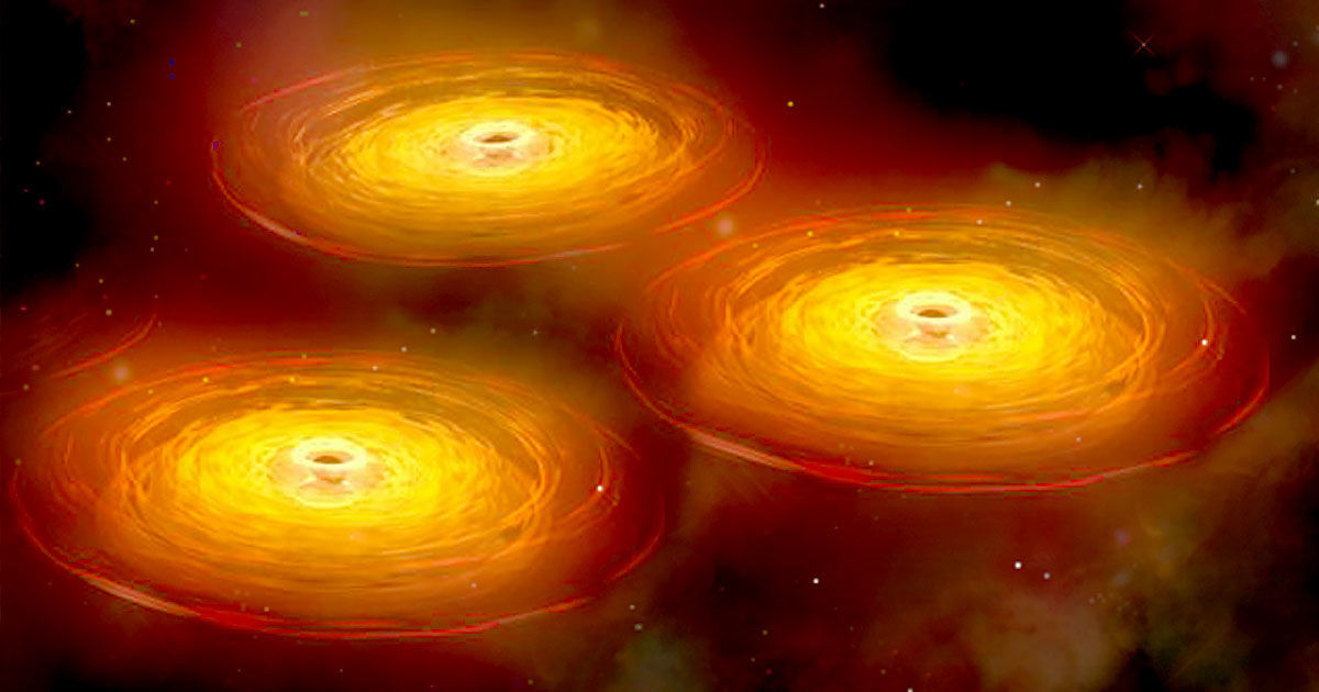 three supermassive black holes are about to collide x