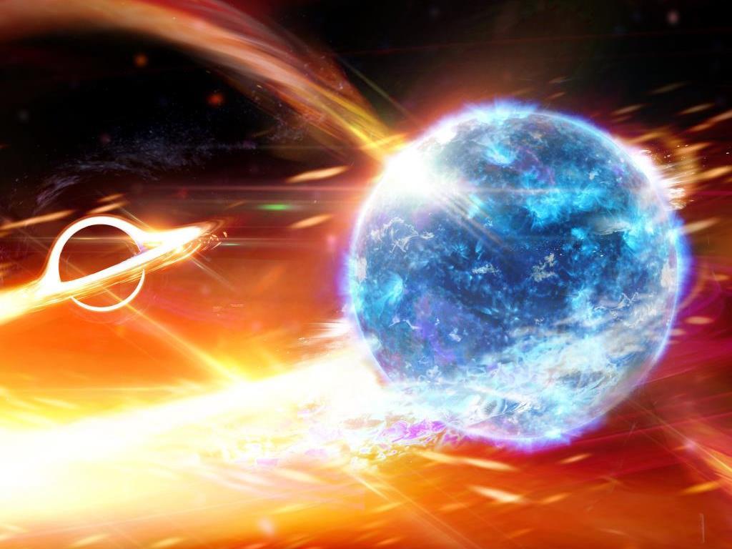 Schwarzes Loch frisst Neutronenstern wie Pac Man