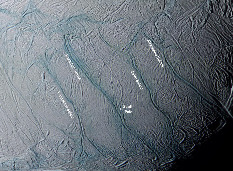 Enceladus PIA labeled