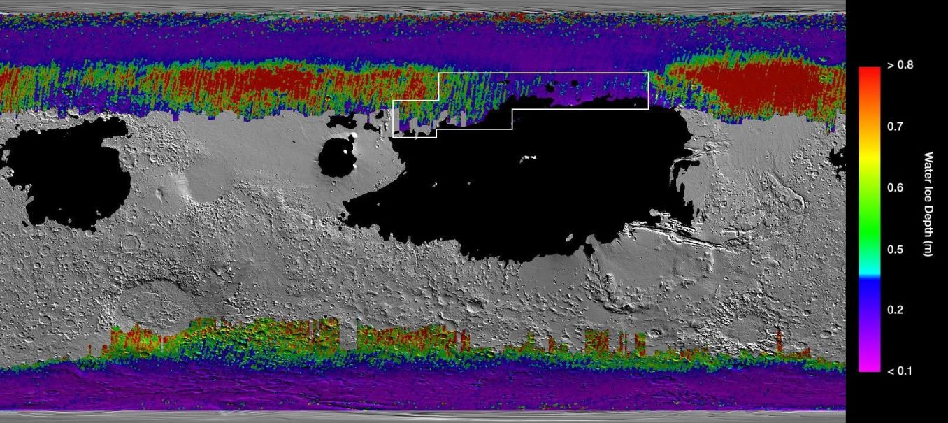 Map Mars Underground Water Ice