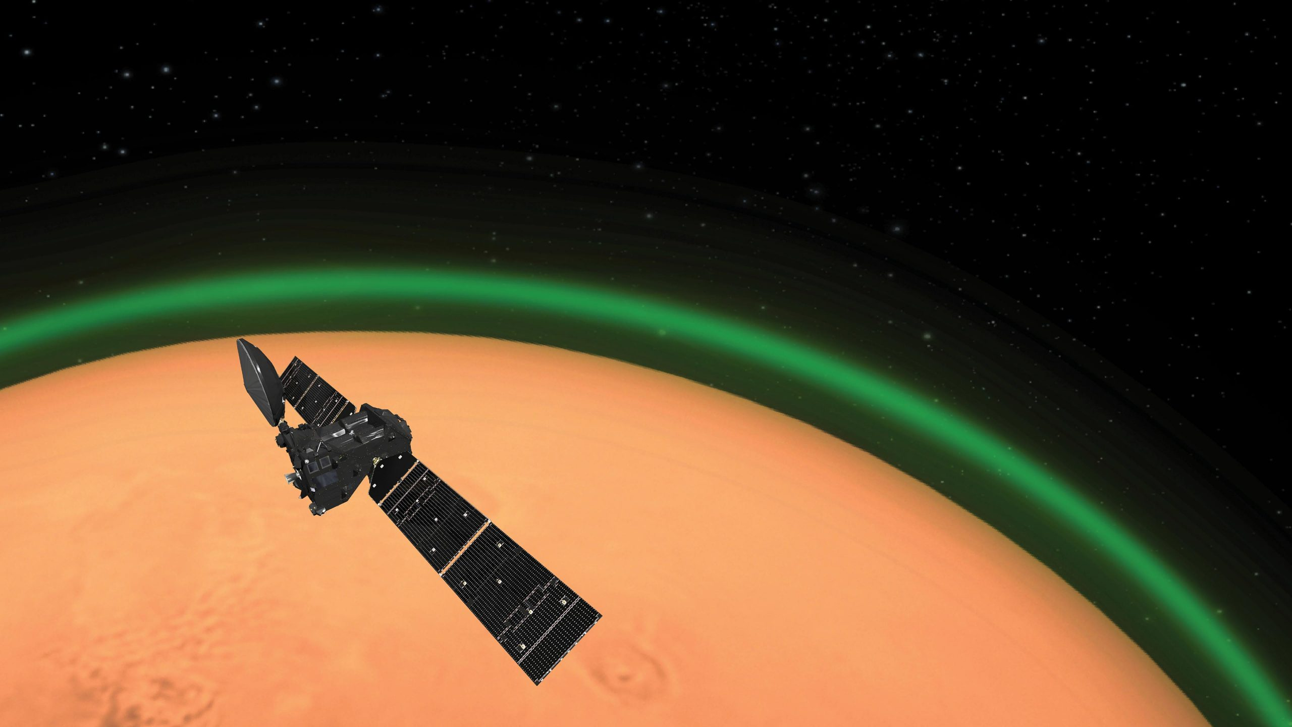 ExoMars Trace Gas Orbiter Spots Daylight Green Oxygen at Mars scaled