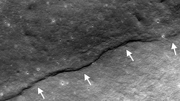 lobate scarps lunar surface x