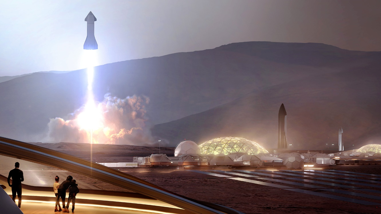 SpaceX Starship launching from Mars Base Alpha humanMars.net