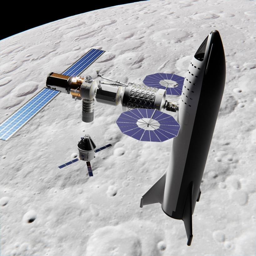 SpaceX Big Falcon Ship docked to Lunar Orbital Platform Gateway by Mack Crawford brickmack