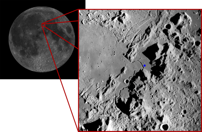 Apollo Landing Site at Hadley Rille Lunar module position is indicated with blue