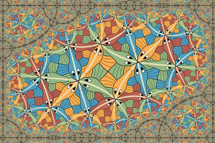 drawing colorful painting animals fish symmetry pattern optical illusion psychedelic M C Escher mural mosaic ART design modern art psychedelic art