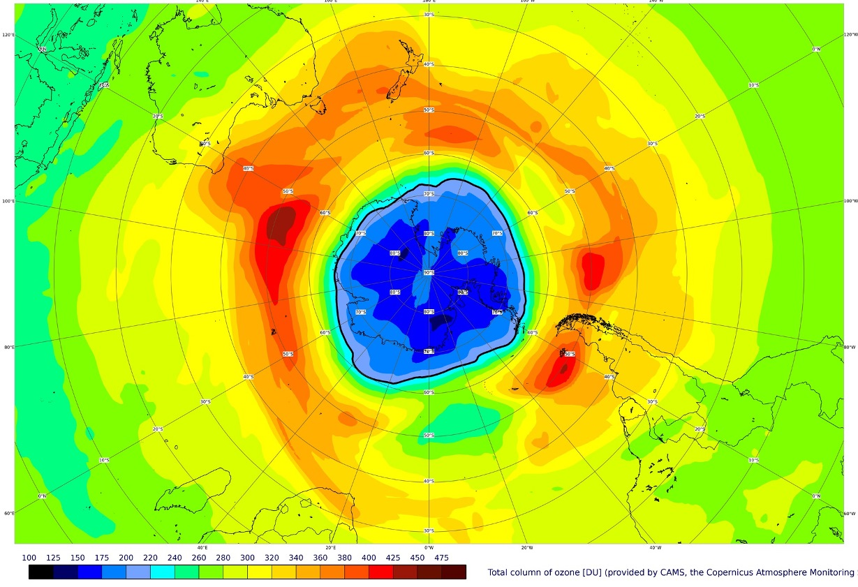 Map of the ozone hole over the South Pole on September pillars